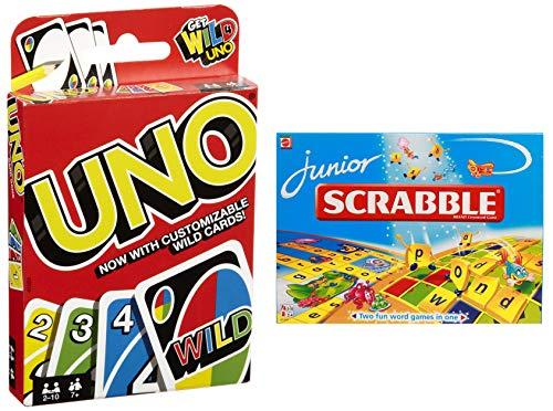Mattel Uno Playing Card Game + Mattel Junior Scrabble Crossword Game