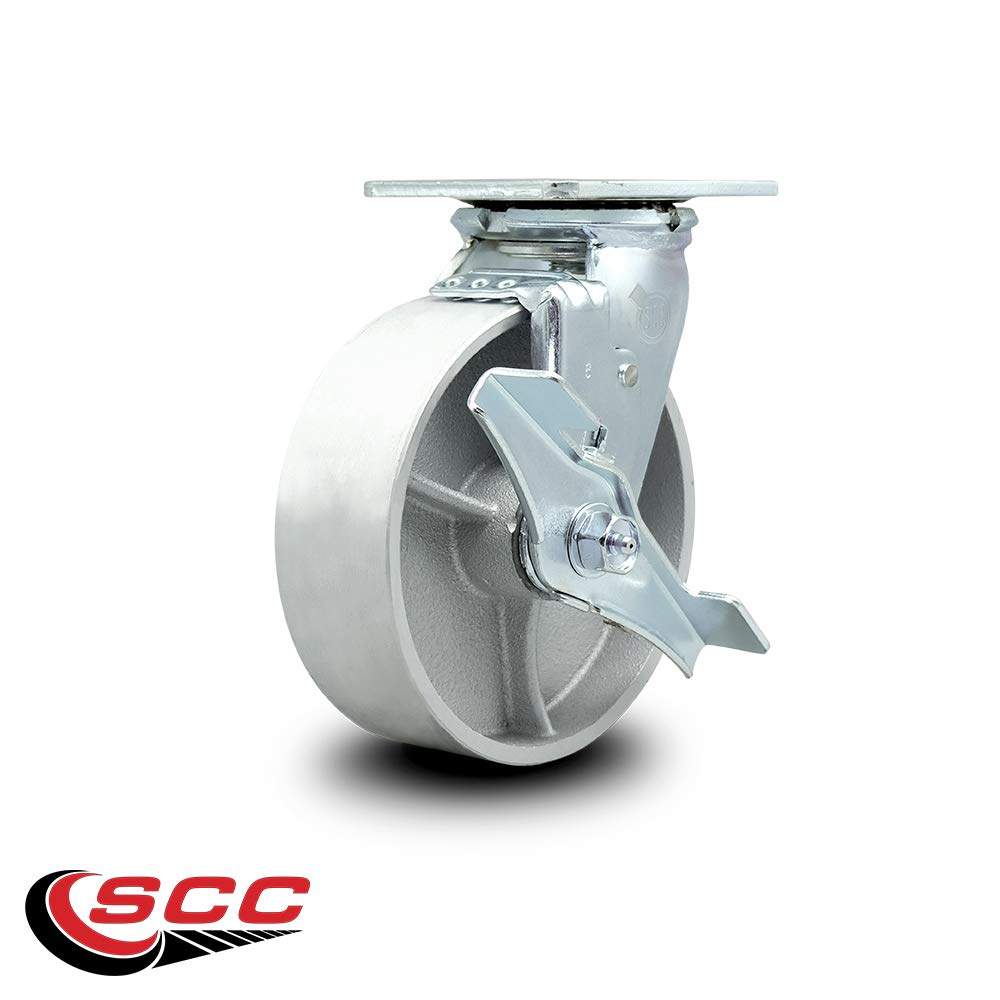 Service Caster - 6'' x 2'' Semi Steel Cast Iron Wheel Caster Set - Swivel Casters w/Brakes - 4,800 lbs Total Capacity - Set of 4 by Service Caster (Image #4)