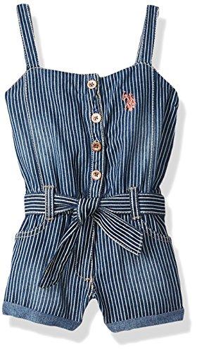 U.S. Polo Assn. Girls' Toddler Romper, Forever Blue Denim Stripes Multi, -
