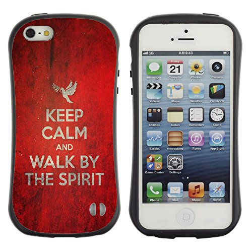 DREAMCASE Citation de Bible Silicone et Rigide Coque Protection Image Etui solide Housse T¨¦l¨¦phone Case Pour APPLE IPHONE 5 / 5S - KEEP CALM AND WALK BY THE SPIRIT