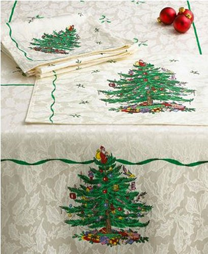 "Spode Christmas Tree 60"" x 120"" Fabric Tablecloth"