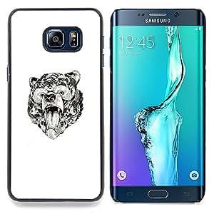 """For Samsung Galaxy S6 Edge Plus / S6 Edge+ G928 Case , Oso Rugido Modelo tribal de tinta blanca Arte"""" - Diseño Patrón Teléfono Caso Cubierta Case Bumper Duro Protección Case Cover Funda"""