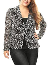 Women's Plus Size Shawl Collar Sheer Floral Lace Blazer