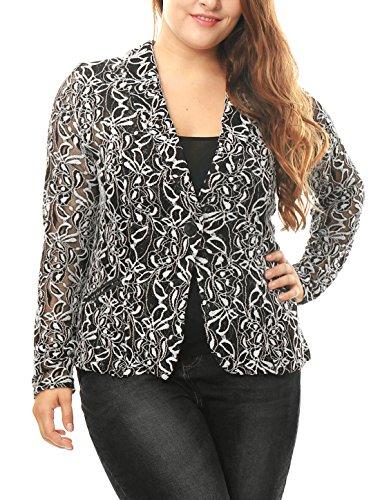 Agnes Orinda Women's Plus Size Shawl Collar Sheer Floral Lace Blazer 2X White Lace Sheer Coat