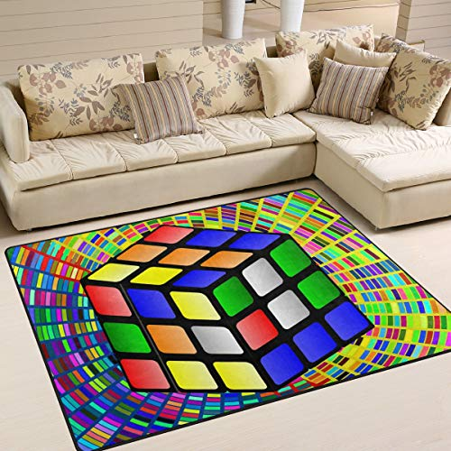 Colorful Wallpaper with Rubiks Cube Area Rug 4'x6', Educational Polyester Area Rug Mat for Living Dining Dorm Room Bedroom Home Decorative -