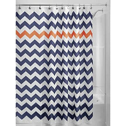 Navy Blue Orange Chevron Pattern Shower Curtain 72quotx72quot Beautiful Horizontal Zigzag Stripes