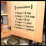 Kitchen Conversions 1 tbsp = 3 tsp 4 tbsp = 1/4 cup 1 cup = 8 oz 2 cups = 1 pint 4 cups = 1 quart 4 quarts = 1 gallon, Vinyl Wall Decal