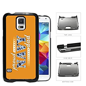 Proud Navy Dad with Blue Camo Letters with Orange Background Samsung Galaxy S5 SM-G900 Hard Snap on Plastic Cell Phone Case Cover by lolosakes