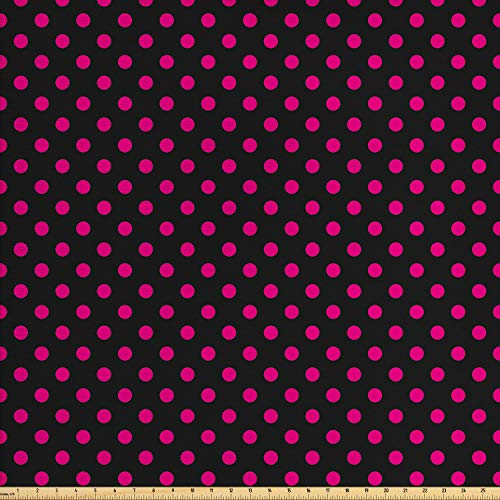 Ambesonne Hot Pink Fabric by The Yard, Old Fashioned Polka Dots Symmetrical Pattern in Vibrant Color Classical Pop, Decorative Fabric for Upholstery and Home Accents, 1 Yard, Black Hot Pink -