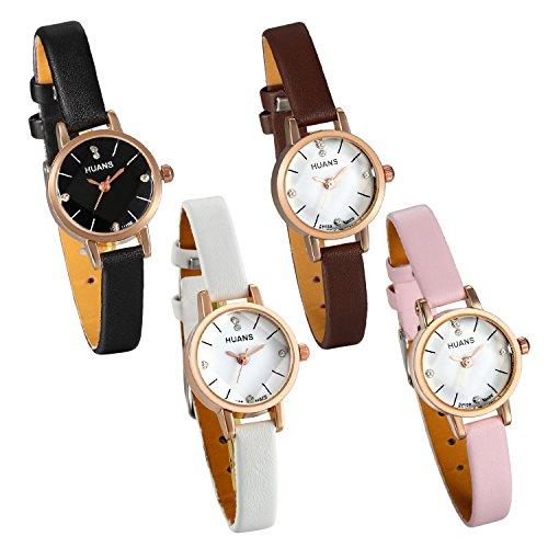 (Lancardo Women Rose Gold Tone Crystal Marker Small Face Narrow Leather Band Bracelet Wrist Watch(4Pcs))