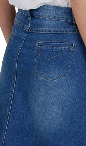 Gonna di jeans donn lunga - Stonewash Blu denim fashion (SKIRT35)