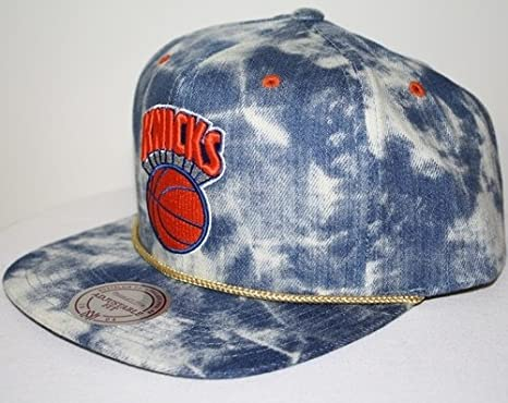 huge selection of 26686 d1d22 Image Unavailable. Image not available for. Color  New Mitchell   Ness Blue  Acid Wash Denim Snapback Hat Cap (NBA New York Knicks