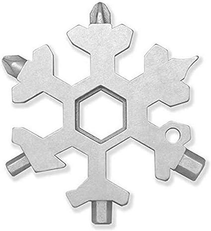 argent/é + noir Cl/é /à anneau Lot de 2 20 en 1 en forme de flocon outils multifonctions de neige en acier inoxydable D/écapsuleur Tournevis hexagonaux