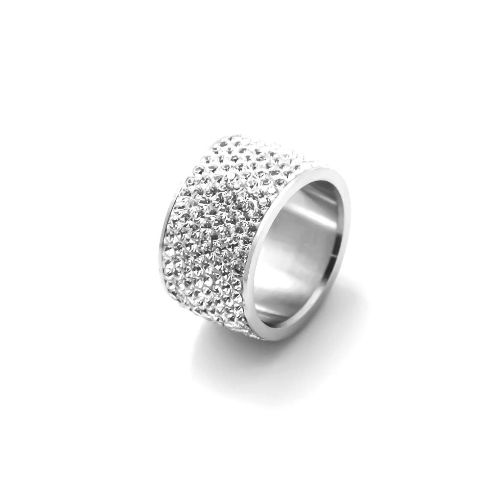 Xusamss Fashion Stainless Steel Ice Out Crystal Ring