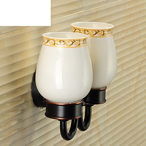 Antique full copper toothbrush cup holder/Tumbler holder/European Ceramic Dual cup holders-B