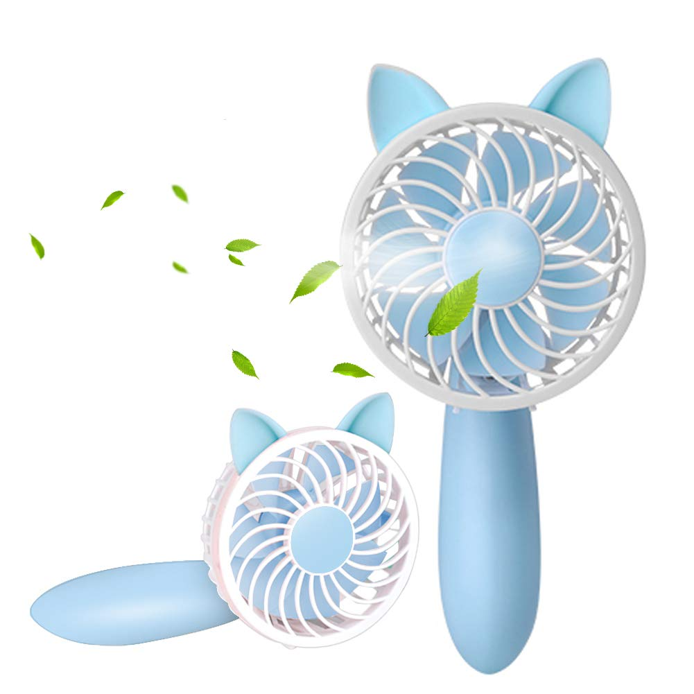 RioRand 2018 New Handheld Mini Personal desk Fan 1200mAH Rechargeable USB Fan with 3 Speed Adjustable for Indoor and Outdoor Activities(Blue)