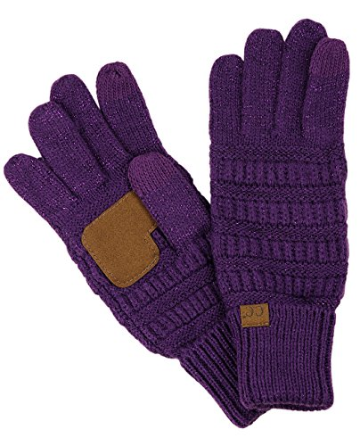 (C.C Unisex Cable Knit Winter Warm Anti-Slip Touchscreen Texting Gloves, Purple)