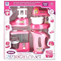 Hobnot R.k Kid's Battery Operated Home Appliances Set of Iron, Washing Machine, Mixer Grinder and Vacuum Cleaner (Pink)