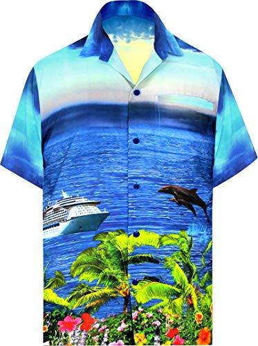 LA LEELA Men's Relaxed Hawaiian Shirt Button Down Camp Party Shirt L Blue_W560