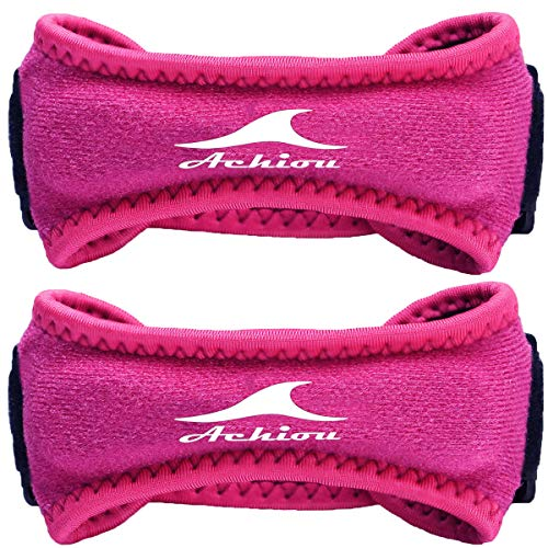 Achiou Patella Straps Adjustable Knee Pain Relief Support Band for Running,Basketball,Jumping,Weightlifting,Hiking,(Pink/Knee Strap)