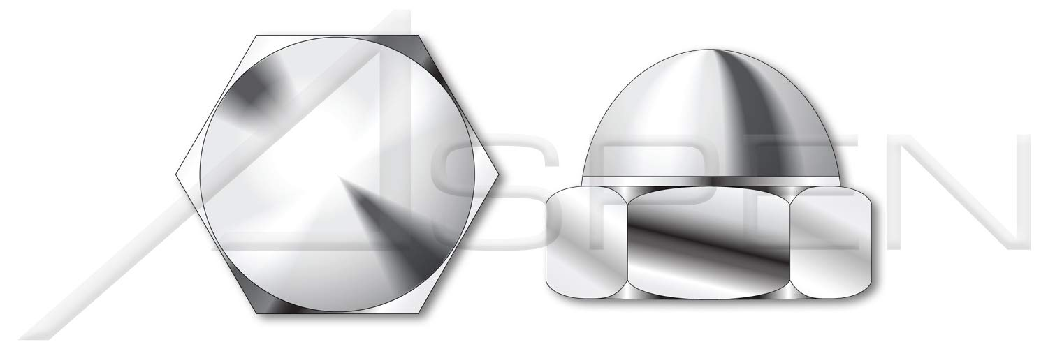 (50 pcs) 7/16''-14, Acorn Cap Dome Nuts, Closed End, AISI 304 Stainless Steel (18-8)