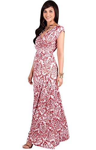 KOH KOH Plus Size Women Long Cap Short Sleeve Printed V-Neck Empire Waist Summer Boho Bohemian Maternity Casual Sundresses Gown Gowns Maxi Dress Dresses, Crimson Red and White 3X 22-24 ()
