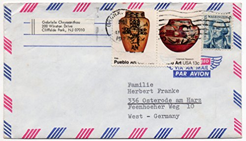US Air Mail Postal Cover 1977 With Pueblo Art US Postage Stamps Scott #1706 ,1708 And #1283