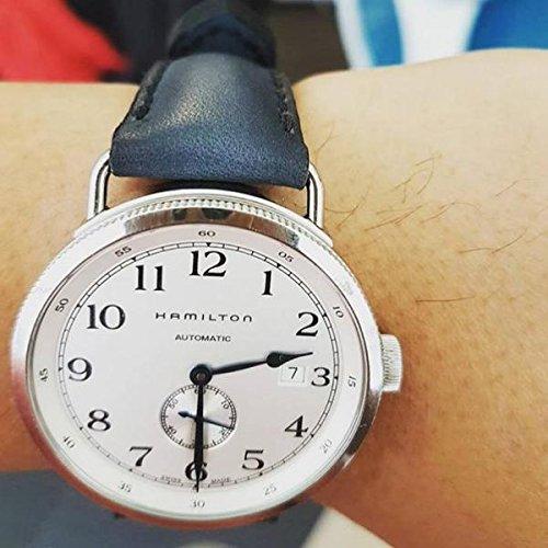 Custom 22mm Handmade Premium Calf Leather Watch Band Gunny Straps - Deep Blue