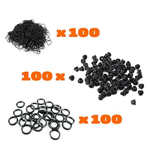 100 Color #12 TATTOO machine RUBBER BANDS 100 A-Bar Black Nipples grommets gun 300pcs ()