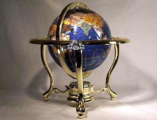 "11"" Tall 150mm Dia Tripod 3 Gold Leg Stand Blue Crystal Crystallite Ocean Gemstone World Map Globe"