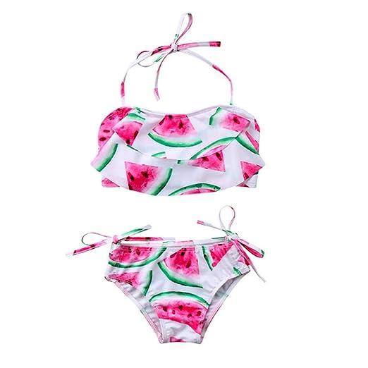 5ee768307b Beach Swimwear for Teen Kids Girls Floral Flounce Straps Print Swimsuit+Shorts  Bikini Set (