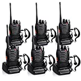 Proster Walkie Talkies Two Way Radio 16 Channel Rechargeable Walkie Talkie Ham Radio Tracsceiver UHF 400 to 470 MHz CTCSS DCS with Original Earpiece and USB Charger 3 Pair
