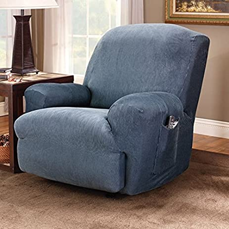 Sure Fit Stretch Stripe 1-Piece - Recliner Slipcover - Navy (SF37724) : navy blue recliner - islam-shia.org