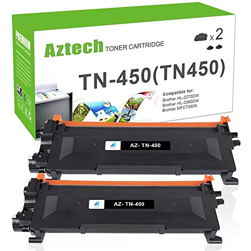 AZTECH Compatible Toner Cartridge Replacement for Brother TN450 TN 450 TN420 (Black, 2-Packs)