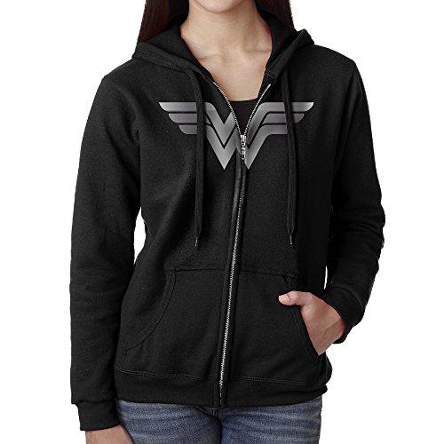 (Wonder Woman Platinum Style Women Full Zip Pocket Sweatshirt Hoodie)