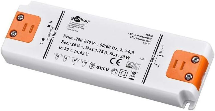 Goobay Transformador LED 24V (DC) de 0,5 hasta 30 vatios para lámparas LED, 1 pieza