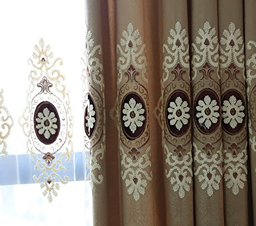 YouYee Customized Simple Chenille Jacquard Sheer Window Elegance Curtains/drapes/panels/treatments for Bedroom Living Room,Top Hooks Rings (2 Panels) - Chenille Jacquard Panel