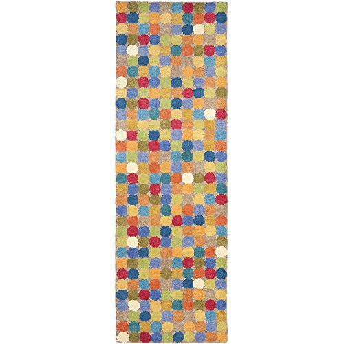 Safavieh Soho Collection SOH922A Handmade Abstract Polka Dot Multicolored Premium Wool Runner (2'6