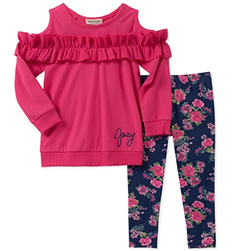Juicy Couture Baby Girls 2 Pieces Tunic Legging Set, hot Pink/Print, 6-9 Months