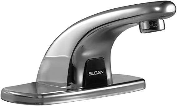 Sloan Valve EBF-615-4 Optima Plus Battery Powered Sensor Activated Electronic Hand Washing Faucet with Trim Plate for 4-Inch Centerset Sink, Chrome