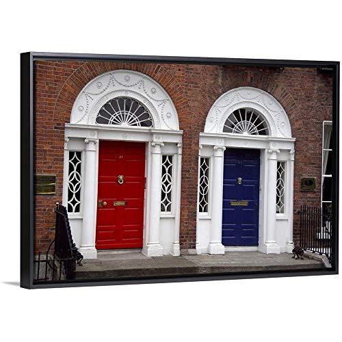 "Cindy Miller Hopkins Floating Frame Premium Canvas with Black Frame Wall Art Print Entitled Europe, Ireland, Dublin, Georgian Door 48""x32"""