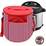 Instant Pot Cover Travel Carrying Tote Bags - Instant Pot Accessories 6 Quart- Dustproof and Decorative Pressure Cooker Cover with Carrying Strap and Handle- Also Used As Small Appliances Cover (Red)