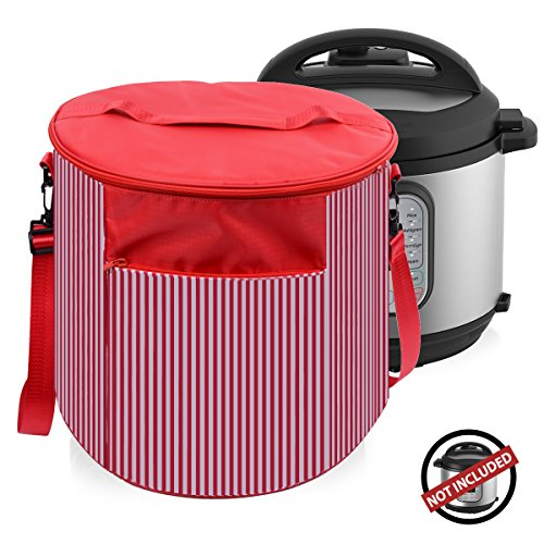 Instant Pot Cover Travel Carrying Tote Bags - Instant Pot Accessories 6 Quart- Dustproof and Decorative Pressure Cooker Cover with Carrying Strap and Handle- Also Used As Small Appliances Cover (Red) by WERSEA