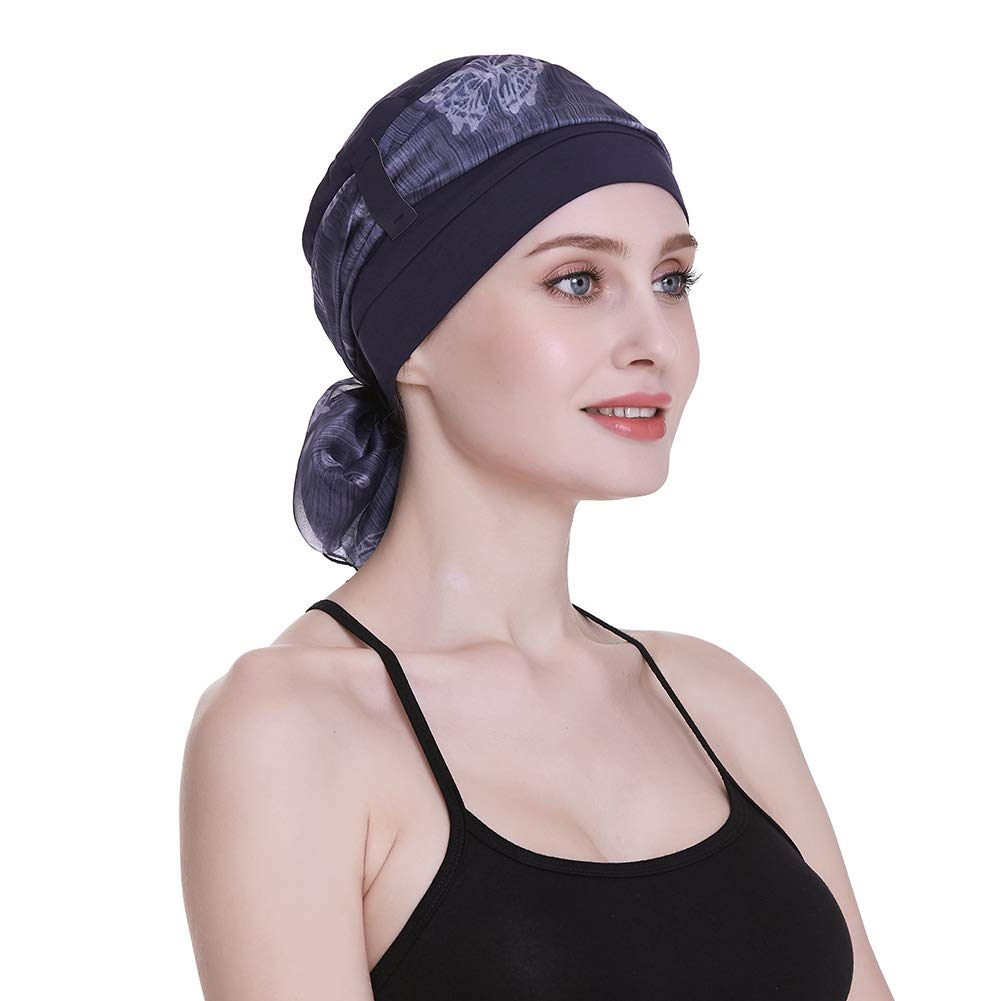 Blue Bamboo Beanie for Women with Chemo Sleep Turbans Headwear for Cancer Patients