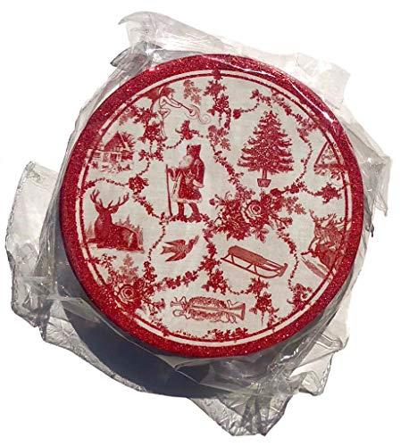 (Punch Studio Set of 6 Glitter Embellished Coasters, Christmas Toile)