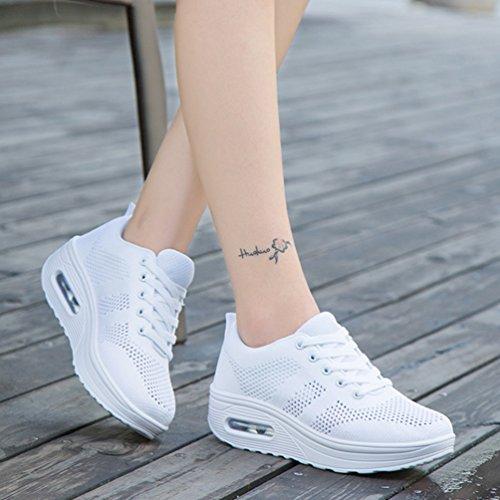 JRenok Lona de Mujer Deporte Zapatillas de blanco IHqIr