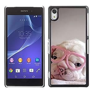 Cachorro corazón rosado Gafas lindo dulce - Metal de aluminio y de plástico duro Caja del teléfono - Negro - Sony Xperia Z2