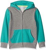 Spotted Zebra Boys' Fleece Long-Sleeve Zip-up Sweatshirt Hoo