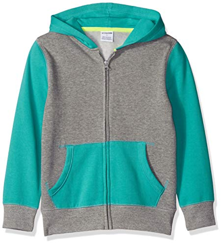 Amazon Brand - Spotted Zebra Little Kid Fleece Zip-Up Hoodies, Blue and Grey, X-Small (4-5)