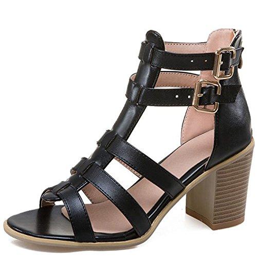 GTVERNH-Hohe Rom Schuhe Sandalen Leder Lady Die Die Lady Abwanderung schwarz 645974